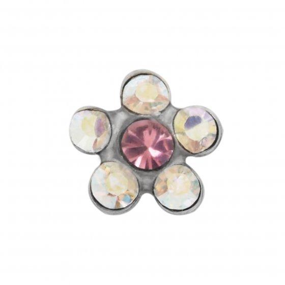 Brinco Sensitive Flor rosa/cristal 120