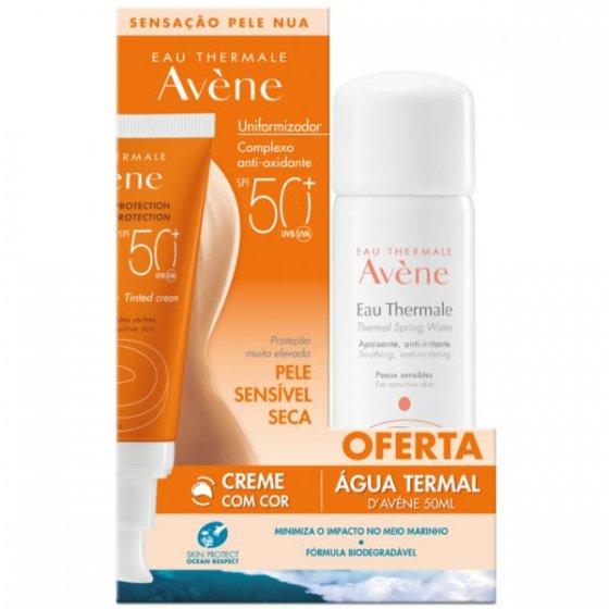 Avène  Creme pele sensível seca com cor SPF50+ 50 ml com Oferta Água termal 50 ml