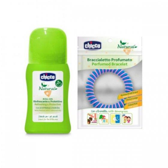 Chicco Natural Roll-on refrescante e protetor contra mosquitos 60 ml com Oferta de Pulseira perfumada
