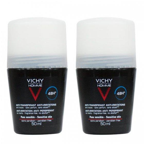 Vichy Homme Duo Desodorizante Pele Sensível 2 x 50 ml com Desconto de 2.5€