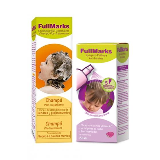 Fullmarks Spray Piolhos/Lêndeas 150 Ml + Champô Pós Tratamento 150 Ml Com Desconto De 50%