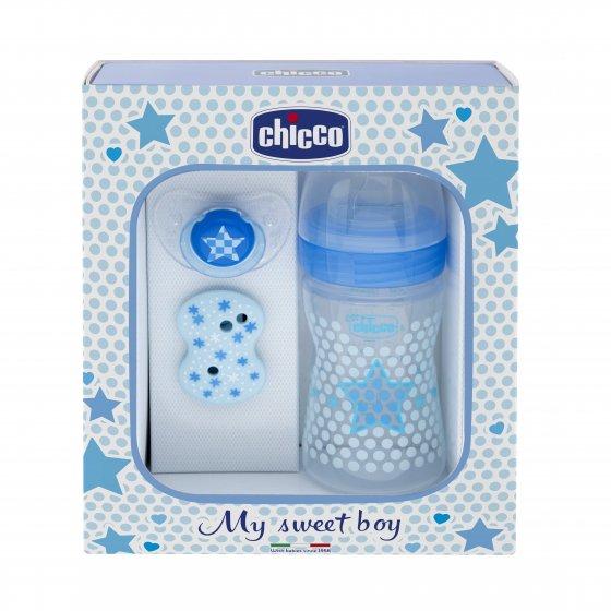 Chicco Conjunto Chupeta + Biberão Blue + Clipe de Segurança