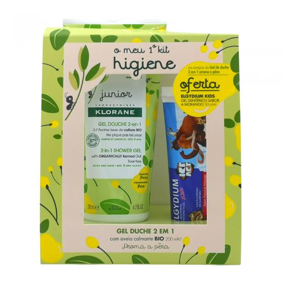 Klorane  Junior kit gel duche 2 em 1 cabelo/corpo pera 200 ml com oferta de Elgydium Kids gel dentifrico morango 50 ml